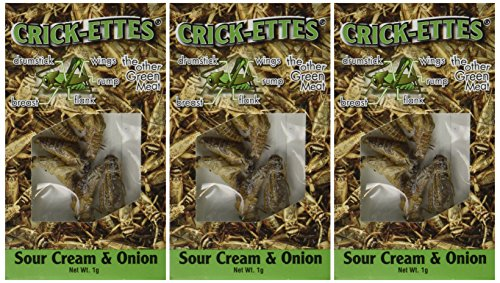 Crick-ettes - Sour Cream & Onion Flavored Cricket Snacks (3 Pack) (Meat Flavored Candy compare prices)