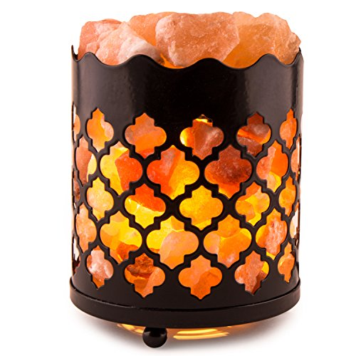 Crystal Decor Natural Himalayan Salt Lamp with Salt Chunks in Cylinder Design Metal Basket and Dimmable Cord - Moroccan Design (Salt Lamp compare prices)