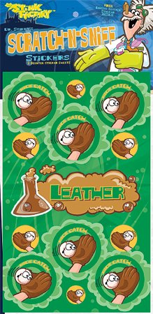 Dr Stinky's LEATHER Scratch-n-Sniff Stickers, 2 sheets 4 x 6 3/4, 26 stickers - 1