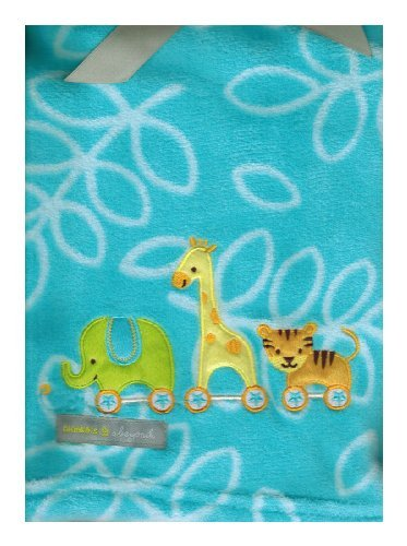 Elephant, Tiger & Giraffe 'Blue' Baby Blanket By Blankets & Beyond - 1