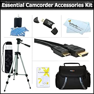 Essential Accessory Kit For Toshiba Camileo H30 X100 HD Camcorder Includes 50 Tripod + Deluxe Case + Mini HDMI Cable + Lens Cleaning Kit + Screen Protectors + More