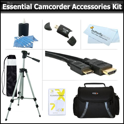 "Essential Accessory Kit For Toshiba Camileo H30 X100 HD Camcorder Includes 50"" Tripod + Deluxe Case + Mini HDMI Cable + Lens Cleaning Kit + Screen Protectors + More"