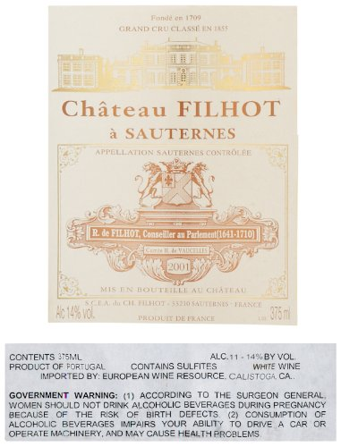 2001 Filhot, Sauternes 375 Ml