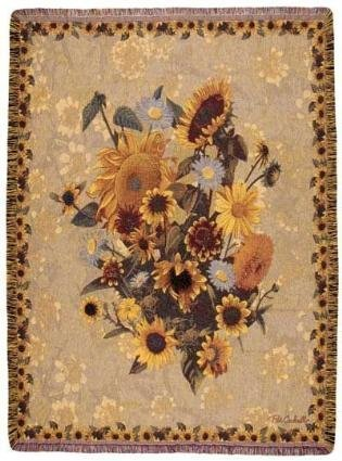 """Sunflower Meadow Floral Mix Tapestry Throw Blanket 50"""" X 70"""""""