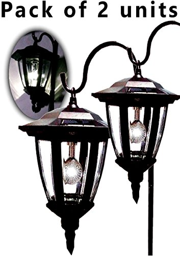 Brilliant & Mo Set of 2 Black Vintage Shepherd Hook Lantern Solar Lantern Outdoor Light (Outdoor Lantern Lights)