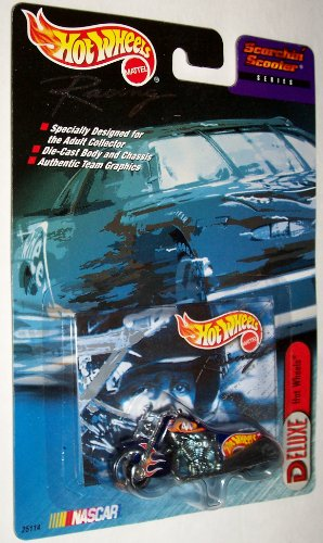 Deluxe Hot Wheels Nascar Racing Scorchin Scooter Series #44 Red Lobster (Dark Blue with Flames) Die-Cast Motorcycle