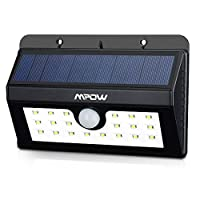 Mpow 20 LED ソーラーライト センサー搭載 屋外照明/軒先/壁掛け/庭先/玄関周りなどのライト 夜間自動点灯