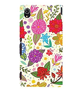 Clipart Floral Design 3D Hard Polycarbonate Designer Back Case Cover for Sony Xperia M4 Aqua :: Sony Xperia M4 Aqua Dual