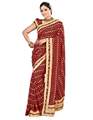 Designer Amazing Maroon Colored Embroidered Faux Georgette Saree By Triveni - B00QTJNLWK