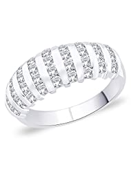 Peora Sterling Silver Rhodium Plated Men's Striped CZ Ring (PR3094)