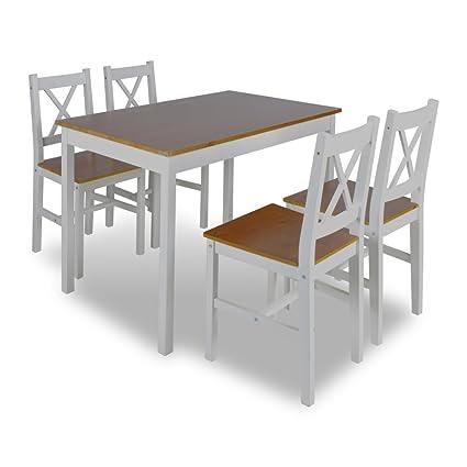 Mesa de madera con 4 sillas de madera Set de muebles Marrón