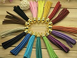30pcs of Multi-Colors Leather Tassel with Gold Caps Cell Phone Straps/DIY Charms
