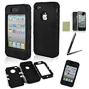 SQdeal® 3-piece Hybrid High Impact Hard Case for Iphone 4 4s, with Stylus Pen and F&b Protector (Black)