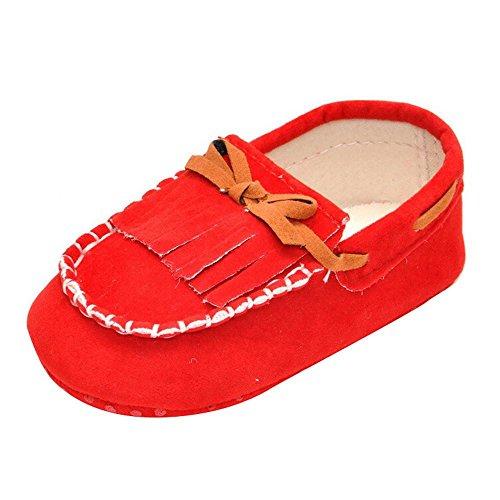 Kingko® Scarpe Neonato Bambino Bambini nappa Prewalker Shoes bowknot suola infantile delicatamente (12~18 mesi, Rosso)