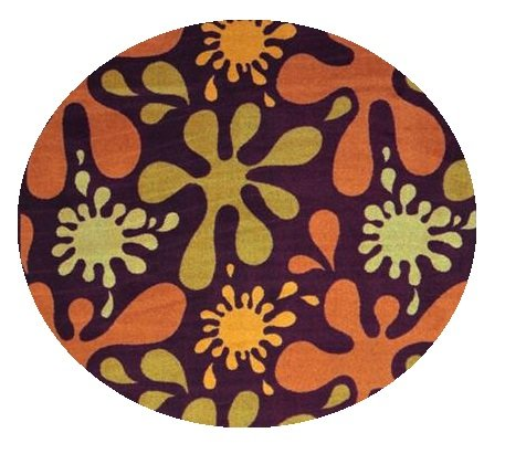 Splat Burgundy Multi - 6' Round Custom Stainmaster Premium Nylon Carpet Area Rug ~ Bound Finished Edges front-1009428