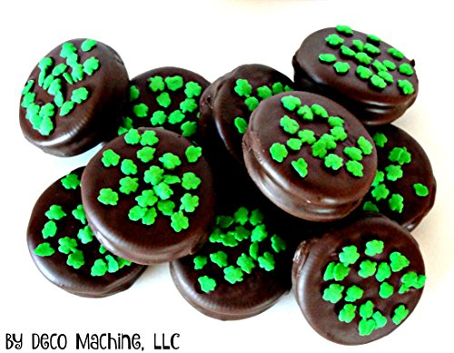 6 Milk Chocolate Dipped Oreo Cookies St. Patrick's Day Irish Green Shamrock Four Leaf Clovers edible gift box set wrapped with ribbon