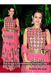 Designer salmon Pink GEORGETTE Bollywood Replica Dress.