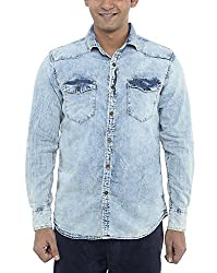 American Bull Men's Casual Shirt (ABSH6014, Blue, Small)