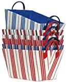 Bright Cotton Fabric Covered Americana Medium Cases with Leatherette Handles 15&quot;x10&quot;x9&quot; Set of 6