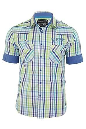 Mens Short Sleeved Western Shirt in Green Check