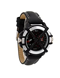 COSMIC BLACK LEATHER STRAP DUAL TIME ANALOG WATCH FOR MEN