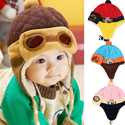 Beanie Pilot Cap , Misaly New Boys Winter Warm Hat Crochet Earflap Hats (Coffee)