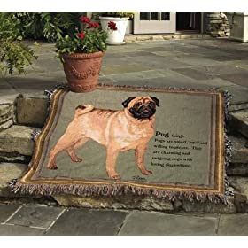 Pug Tapestry Throw