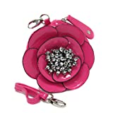 Coin Purse ~ Pink Fuchsia Flower Coin Pouch Pouch with Hematite Stone Accents and Detachable Strap