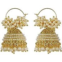 MUCHMORE Brass Jhumki Earrings for Girls (White)