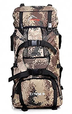 Eskyline® Heavy Duty Deluxe Large Expandable 90L Waterproof Outdoor Camo Army Military Tactical Backpack Hiking Camping Gear
