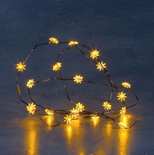 LED Lichterkette mit Sternen-Motiv für innen 20 Kerzen batteriebetrieben.