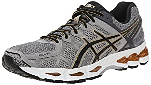 ASICS Men's Gel Kayano 21 Running Shoe, Grey Beige/Black/Gold, 10 M US