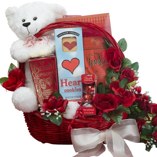 All My Love Chocolate Gift Basket With Teddy Bear – Romantic Valentine's Gift Basket