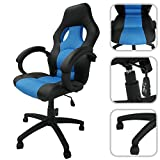 Adjustable faux leather office chair with blue mesh cover - Reclining office chair