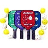 4 Champion Pickleball Paddles with 12 Pickleballs by PickleballCentral