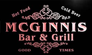 u29512-r MCGINNIS Family Name Bar & Grill Home Beer Food Neon Sign