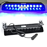 Wecade® 12w 12 Leds Car Truck Emergency Strobe Flash Light Windshield Warning Light (Blue)