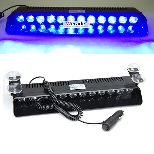 Wecade 12w 12 Leds Car Truck Emergency Strobe Flash Light Windshield Warning Light (Blue) (Led Blue Emergency Lights compare prices)