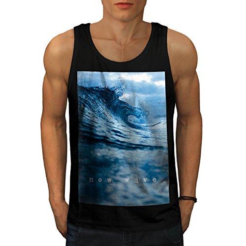Nuovo Oceano Onda ondata Surf Uomo Nuovo Nero L Canotta | Wellcoda