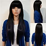 Rise World Wig Women's Fashion 70cm Long Straight Bangs Cosplay Costume Black Heat Friendly Wig