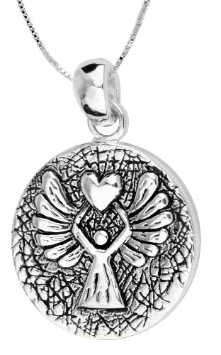 Sterling Silver Reversible Pendant with Guardian Angel, 18 inch