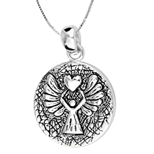 "Sterling Silver ""Guardian Angel Protect Me Wherever I Go And Keep Me From Harm"" Reversible Pendant with Angel, 18"""