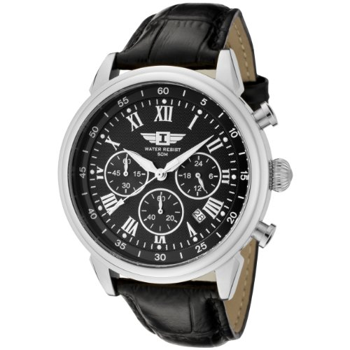 I By Invicta Men's 90242-001 Chronograph Black Dial Black Leather Watch