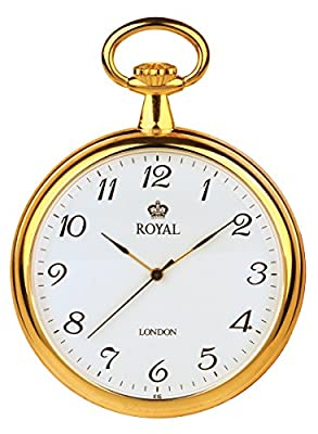 Royal London Pocket Watch 90014-02 Gold Plated Open Face