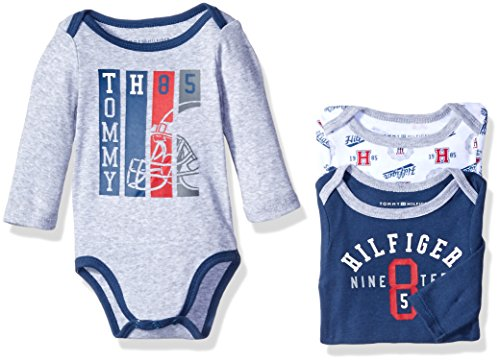 Tommy Hilfiger Baby 3 Pack Long Sleeve Bodysuits, Navy/Gray, 6-9 Months