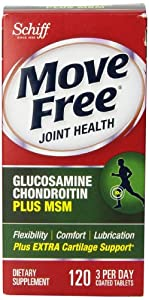 Move Free Advanced Glucosamine Chondroitin Joint Supplement with Hyaluronic Acid and MSM, 120 Count