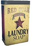 Tin - Red Star Laundry Soap - Primitve Country Rustic Vintage Look Advertising