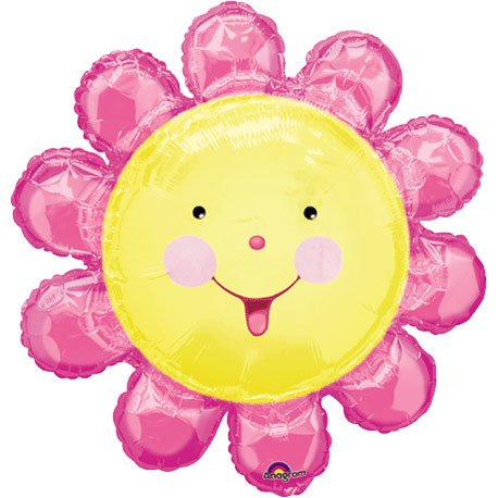 "Pink Smiling Flower Super Shape 29"" Mylar Balloon - 1"