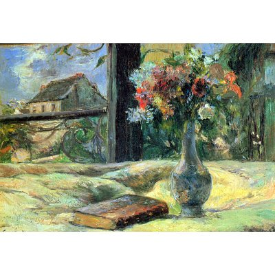 Paul Gauguin Flower Vase in Window ArtPoster - 13x19 custom fit with RichAndFramous Black 19 inch Poster Hangers