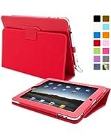 Snugg™ Étui Pour iPad 2 - Smart Cover Avec Support Pied Et Une Garantie à Vie (En Cuir Rouge) Pour Apple iPad 2